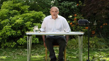Number 10 special advisor Dominic Cummings speaks as he delivers a statement in the Rose Garden at 1