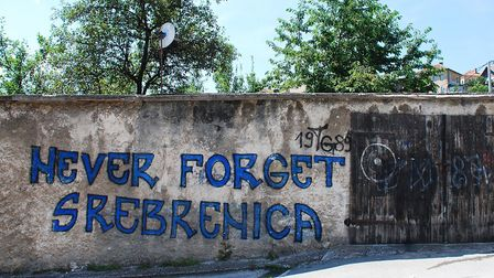 Graffiti on a wall near Travnik fortress referring to the Srebrenica massacre in July, 1995, during the Bosnian war