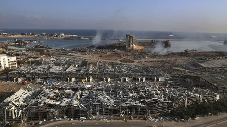 This photo shows a general view of the scene of an explosion that hit the seaport of Beirut, Lebanon