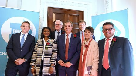 Claire Fox with Nigel Farage and former Brexit Party MEPs ahead of the last European elections. (Pho