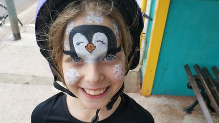 Cyclist Maria with face painted