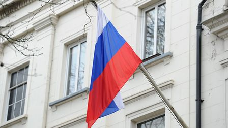 A Russian flag outside the Russian Embassy in London; Kirsty O'Connor/PA Wire