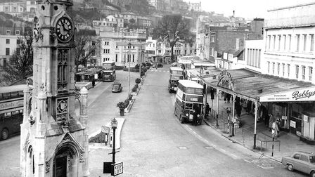 Double-decker buses and Mallock Memorial Clock Tower in February 1960 (PR4737)