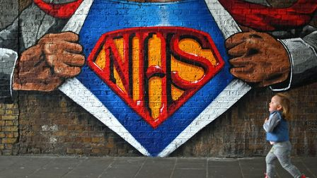 Graffiti in support of the NHS, near Waterloo Station, London. Photograph: Victoria Jones/PA.