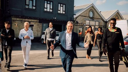Keir Starmer with workers from the creative industry. Photograph: Twitter.