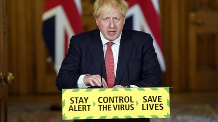 Prime minister Boris Johnson during a press briefing in Downing Street,