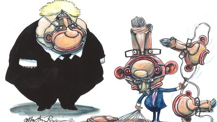 Michael Gove toys with his latest mask. Illustration by Martin Rowson.
