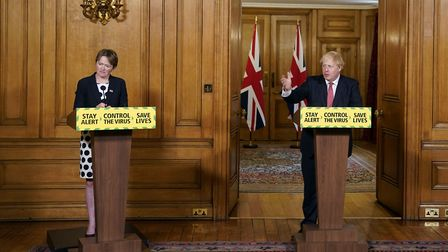 Baroness Dido Harding, executive chairwoman of NHS Test and Trace and Prime Minister Boris Johnson,