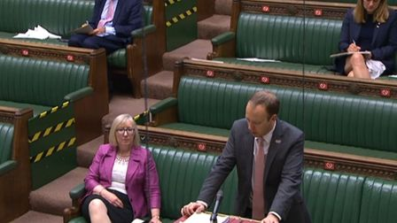 Health Secretary Matt Hancock delivers a statement on the government's actions on coronavirus. Photo