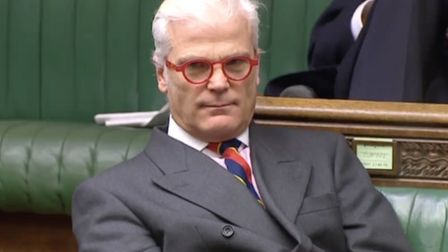 Desmond Swayne in the Hosue of Commons. Photograph: Parliament TV.