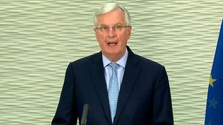 Michel Barnier at a press conference on Brexit; Twitter