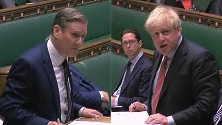 Sir Keir Starmer and prime minister Boris Johnson in the House of Commons; PA