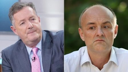 Piers Morgan (left) in the studio of Good Morning Britain, and Dominic Cummings (right). Photograph: