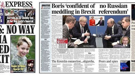 Coverage of the Russia Report in the Express. Photograph: Express/Twitter