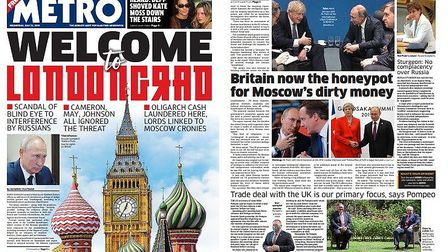 Coverage of the Russia Report in the Metro. Photograph: Metro/Twitter.