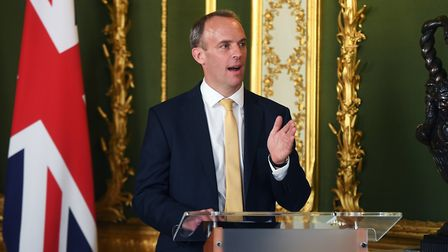 Foreign secretary Dominic Raab, during a press conference at Lancaster House in central London. Phot