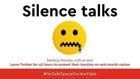 An image being used to promote the #NoSafeSpaceForJewHate walkout on Twitter. Photograph: Twitter.