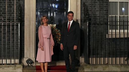 Spanish Prime Minister Pedro Sanchez and his wife Maria Begona Gomez Fernandez arriving for an eveni