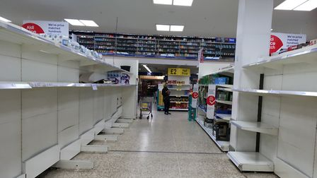 Panic buying has lead to empty shelevs in supermarkets. Photograph: Sherif El-Alfy.
