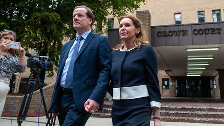 Former Conservative MP Charlie Elphicke, with MP for Dover Natalie Elphicke, leaving Southwark Crown