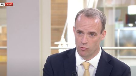 Foreign Secretary Dominic Raab during Sophy Ridge on Sunday. Photo: Sky News.