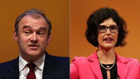 Lib Dem leadership contenders Ed Davey and Layla Moran. Photograph: PA/Archant.