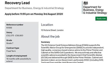 The job advert for a Recovery Lead with the Department for Business, Energy & Industrial Strategy; c