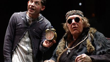 Lee Evans (as Clov) and Michael Gambon (as Hamm) in the production 'Endgame' at the Albery Theatre i