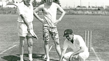Ted Lea, Mark Faulkner, and I inspect the Galmpton pitch which caused all the trouble
