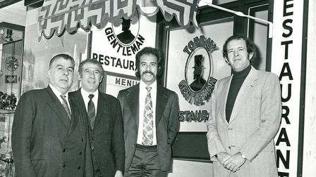 The opening of the 'Torbay Gentleman' restaurant. From left, George Sofroni (waiter), Joe Ellinas,