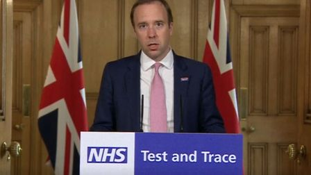 Health secretary Matt Hancock during a media briefing in Downing Street on NHS test and trace. Photo