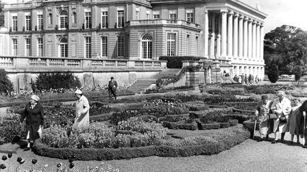 Southwest view of Oldway Mansion and visitors in the gardens in 1964 (PR24517)