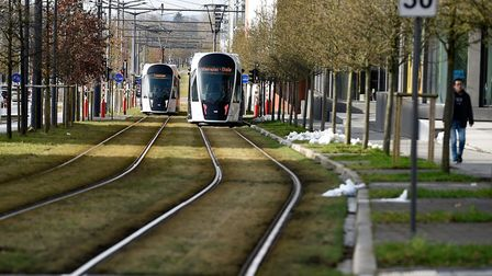 Tramways are pictured in Luxembourg as the country inaugurates its free public transports policy on