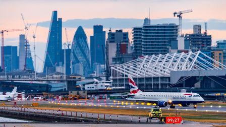 Runway at London City Airport looking west towards Canary Wharf and the City. Picture: LCA