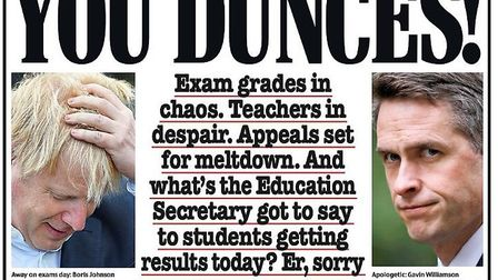 Tory-leaning paper, The Daily Mail, blasted Boris Johnson and Gavin Williamson over A-Level results on their Thursday...