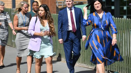 Labour Party leader Keir Starmer during a visit to Whitmore Park Primary School in Coventry. Photogr