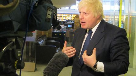 Boris Johnson is interviewed by the media. Photograph: Mike Brooke.