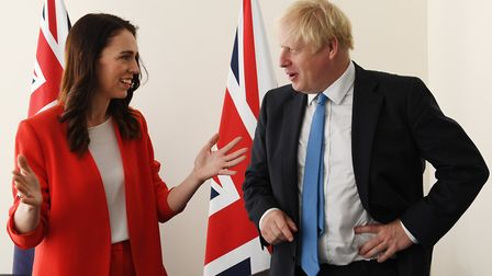 Prime Minister Boris Johnson meets the Prime Minister of New Zealand Jacinda Ardern. Photograph: Ste