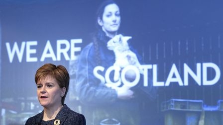 First Minister Nicola Sturgeon during a Stay in Scotland campaign event. Photograph: Jane Barlow/PA.