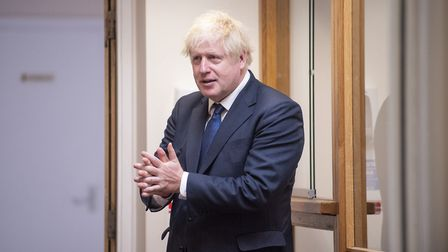 Prime Minister Boris Johnson sanitises his hands. Photograph: Lucy Young/Evening Standard/PA Wire