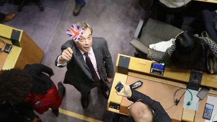 Nigel Farage in the parliament chamber at the European Parliament in Brussels. Photograph: Yui Mok/P