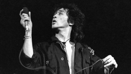 Moscow, Soviet Union. Viktor Tsoi with his rock band Kino [Cinema] perform at the MELZ electro-lamp