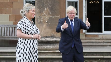 (left to right) Northern Ireland's deputy first minister Michelle O'Neill and prime minister Boris J