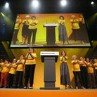 Lib Dem MEPs on stage at the Liberal Democrats conference. Photograph: Jonathan Brady/PA.