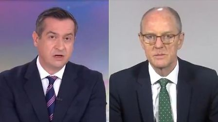 Sky News presenter Niall Paterson and Tory schools minister Nick Gibb; Sky News, Twitter