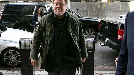 Former advisor to US president Donald Trump Steve Bannon arrives to testify at the trial of Roger St