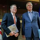 European Union chief Brexit negotiator Michel Barnier and David Frost. Photo: OLIVIER HOSLET/POOL/AF