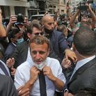 DIPLOMACY: French president Emmanuel Macron speaks to the crowd during his visit to Beirut in the wa