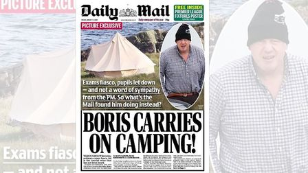 The Daily Mail's Boris Johnson 'scoop' on where he has been holidaying. Photograph: Twitter.