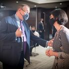 Sir Ed Davey at the Conrad Hotel, Westminster, with Layla Moran. Photograph: Stefan Rousseau/PA Wire